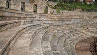 Ruins of ancient Roman theatre in Ohrid