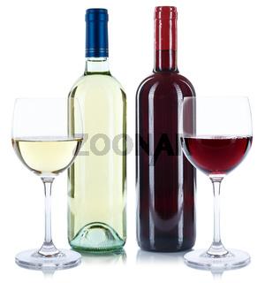Wein Flaschen Glas Weinflaschen Weinglas Rotwein Weißwein Quadrat freigestellt Freisteller