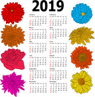 Stylish calendar with flowers for 2019. Week Sundays first