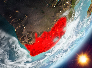 Orbit view of South Africa during sunrise