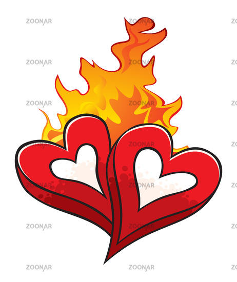 Fire of love over hot beloved hearts isolated on white