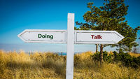 Street Sign to Doing versus Talk