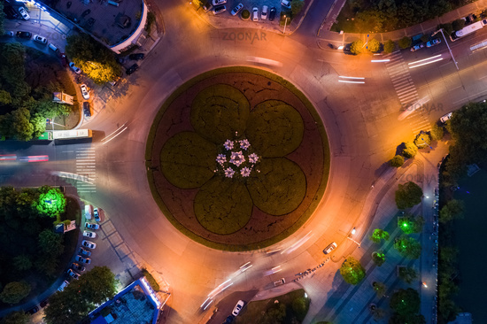 traffic circle island at night