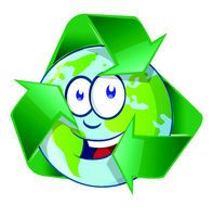 Planet Earth Cartoon Character on recyclin symbol