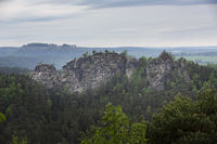 Blick auf die Gamrig Gesteinsformation in der Sächsischen Schweiz, Deutschland