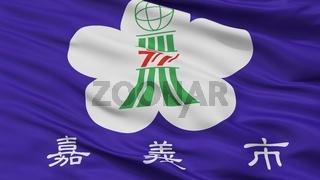 Chiayi City Flag, China, Closeup View