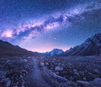 Milky Way and mountains. Space