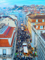 Crowd, Old Town street, Lisbon