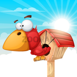 Cartoon birdhouse illustration. Cloud landscape.
