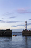 Newhaven Lighthouse at sunset in Edinburgh