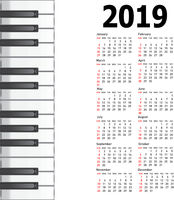 New calendar 2019 with a musical background piano keys