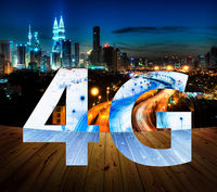 4G text on Kuala Lumpur Malaysia background.
