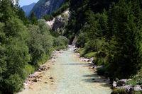 Slowenien, am Fluss Soča im Nationalpark Triglav