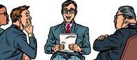 business presentation, a man makes a report