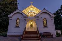 Menlo Park, California - October 2, 2019: Back entrance of Church of the Nativity.