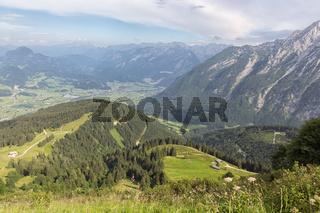 View from German Rossfeld panorama strasse at Austrian mountain ridge