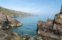 Rocky shoreline of the Island of Lundy off Devon
