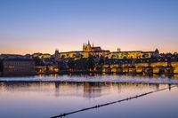 Night view of Prague skyline in Czech Republic