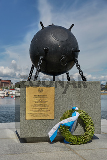 Deminer memorial at the shore of Katajanokka in Helsinki, Finland. There were 60,000 mines around Finland