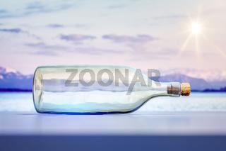 lying glass bottle landscape scenery background
