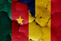 flags of Cameroon and Chad painted on cracked wall