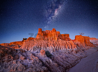 Starry skies over desert landscape