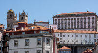 View from downtown to the Cathedral and Bishops Palace in Porto