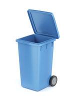 Plastic garbage bin on white