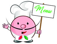 pizza chef mascot with menu signboard