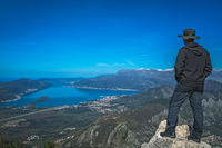 Tourist admiring Tivat and Kotor Bay