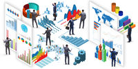 Businessman in business infographics concept