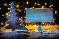 Vintage Wooden Sign, Christmas Tree, Snow, Copy Space
