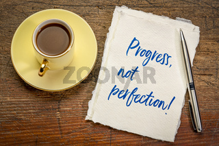 progress, not perfection inspirational handwriting