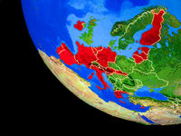 Eurozone member states on Earth from space