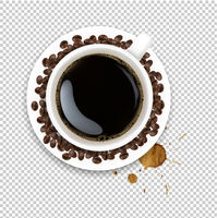 Cup With Coffee And Plate And Coffee Grain And Blots Transparent Background