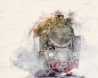 Watercolor Steam Locomotive