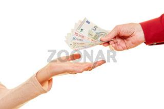 Geld schenken oder spenden als Euro Geldscheine