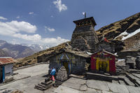 CHOPTA, GARHWAL, UTTARAKHAND, INDIA, May 2013, Devotee at famous Tungnath temple the highest Shiva temple in the world