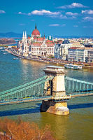Budapest Danube river waterfront Chain bridge and Parliament building panoramic view