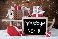 Sleigh With Gifts, Snow, Snowflakes, Text Goodbye 2018