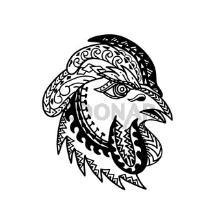 Rooster Head Tribal Tattoo Style