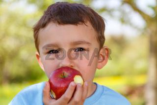 Kind kleiner Junge isst Apfel Frucht essen draußen Frühling