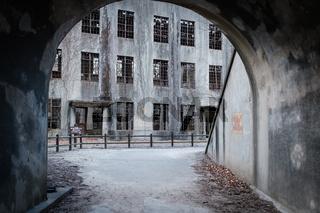 MIYAJIMA, JAPAN - FEB 04, 2018: View from tunnel to Abandoned poison factory of war in Miyajima Rabbit island