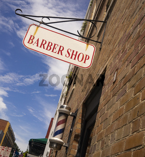 Barber Shop Sign Pole Downtown Urban Business