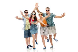 friends in sunglasses having fun