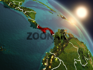 Panama from space during sunrise