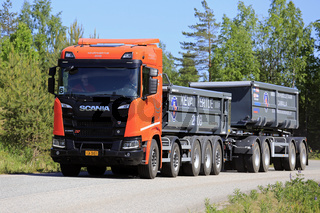 Scania R650 XT Gravel Truck on Spring Road