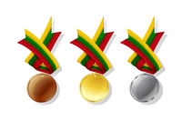 Lithuanian vector medals set