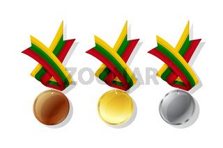Lithuanian vector medals set