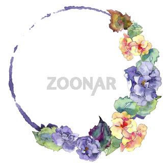 Purple and orange gardania flower. Floral botanical flower. Isolated illustration element.